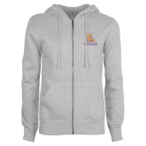 ENZA Ladies Grey Fleece Full Zip Hoodie-PVAM Stacked