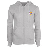 ENZA Ladies Grey Fleece Full Zip Hoodie-PVAM Texas