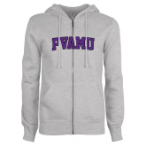 ENZA Ladies Grey Fleece Full Zip Hoodie-Arched PVAMU