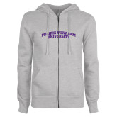 ENZA Ladies Grey Fleece Full Zip Hoodie-Arched Prairie View A&M