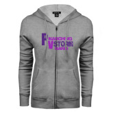 ENZA Ladies Grey Fleece Full Zip Hoodie-PV Marching Storm Band