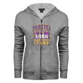 ENZA Ladies Grey Fleece Full Zip Hoodie-Prairie View Marching Storm w/ Majors