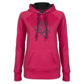 Ladies Pink Raspberry Tech Fleece Hoodie-PVAM Texas Graphite Soft Glitter