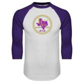 White/Purple Raglan Baseball T Shirt-PVAM Marching Band Seal