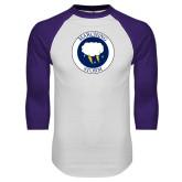 White/Purple Raglan Baseball T Shirt-Marching Storm Cloud Circle