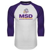 White/Purple Raglan Baseball T Shirt-MSD w/ PVAM Logo