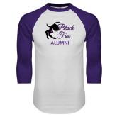 White/Purple Raglan Baseball T Shirt-Black Fox Alumni