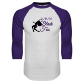 White/Purple Raglan Baseball T Shirt-Future Black Fox