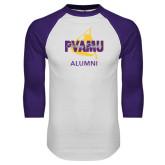 White/Purple Raglan Baseball T Shirt-Twirling Thunder Alumni