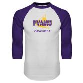 White/Purple Raglan Baseball T Shirt-Twirling Thunder Grandpa