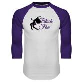 White/Purple Raglan Baseball T Shirt-Black Fox Logo
