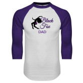 White/Purple Raglan Baseball T Shirt-Black Fox Dad