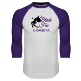 White/Purple Raglan Baseball T Shirt-Black Fox Grandpa