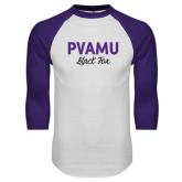 White/Purple Raglan Baseball T Shirt-PVAMU Black Fox Script