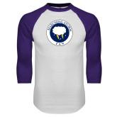 White/Purple Raglan Baseball T Shirt-Marching Storm Cloud Circle - Fan