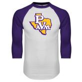 White/Purple Raglan Baseball T Shirt-PVAM Texas