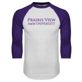 White/Purple Raglan Baseball T Shirt-Word Mark Stacked