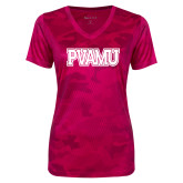 Ladies Pink Raspberry Camohex Performance Tee-PVAMU