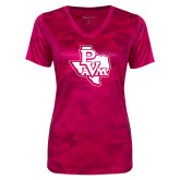 Ladies Pink Raspberry Camohex Performance Tee-PVAM Texas