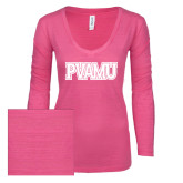 ENZA Ladies Hot Pink Long Sleeve V Neck Tee-PVAMU