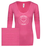 ENZA Ladies Hot Pink Long Sleeve V Neck Tee-Marching Storm Cloud Circle