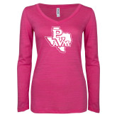 ENZA Ladies Hot Pink Long Sleeve V Neck Tee-PVAM Texas