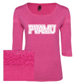 Ladies Dark Fuchsia Heather Tri Blend Lace 3/4 Sleeve Tee-PVAMU