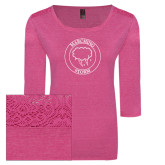 Ladies Dark Fuchsia Heather Tri Blend Lace 3/4 Sleeve Tee-Marching Storm Cloud Circle
