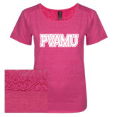 Ladies Dark Fuchsia Heather Tri-Blend Lace Tee-PVAMU