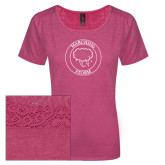 Ladies Dark Fuchsia Heather Tri-Blend Lace Tee-Marching Storm Cloud Circle