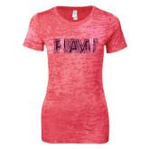 Next Level Ladies Junior Fit Fuchsia Burnout Tee-PVAMU Foil