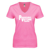 Next Level Ladies Junior Fit Ideal V Pink Tee-PV Marching Storm Band