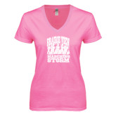 Next Level Ladies Junior Fit Deep V Pink Tee-Praire View marching Storm w/ Majors