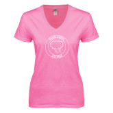 Next Level Ladies Junior Fit Deep V Pink Tee-Marching Storm Cloud Circle