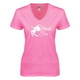 Next Level Ladies Junior Fit Ideal V Pink Tee-Black Fox Logo