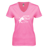 Next Level Ladies Junior Fit Deep V Pink Tee-Future Black Fox