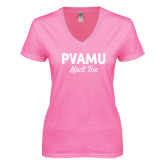 Next Level Ladies Junior Fit Deep V Pink Tee-PVAMU Black Fox Script