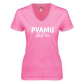 Next Level Ladies Junior Fit Ideal V Pink Tee-PVAMU Black Fox Script