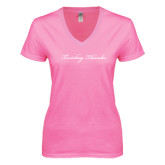 Next Level Ladies Junior Fit Deep V Pink Tee-PVAMU Twirling Thunder Logo