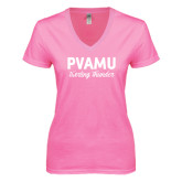 Next Level Ladies Junior Fit Deep V Pink Tee-PVAMU Twirling Thunder Script