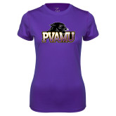 Ladies Syntrel Performance Purple Tee-Official Logo