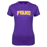 Ladies Syntrel Performance Purple Tee-Arched PVAMU