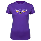 Ladies Syntrel Performance Purple Tee-Football Design