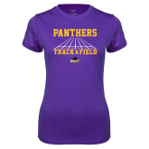 Ladies Syntrel Performance Purple Tee-Track & Field Design
