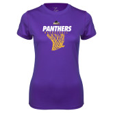 Ladies Syntrel Performance Purple Tee-Basketball Design