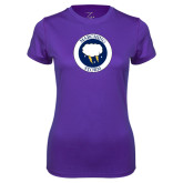 Ladies Syntrel Performance Purple Tee-Marching Storm Cloud Circle