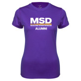 Ladies Syntrel Performance Purple Tee-MSD Alumni