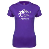 Ladies Syntrel Performance Purple Tee-Black Fox Alumni