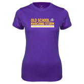 Ladies Syntrel Performance Purple Tee-Old School w/ Cloud