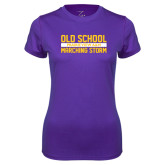 Ladies Syntrel Performance Purple Tee-Old School Marching Storm Stacked